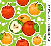 apples seamless pattern green... | Shutterstock .eps vector #464991521