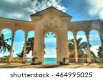 Small photo of Arch of Colonnade in Gagra, Abkhazia, backlit against the sky, HDR processing