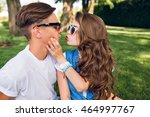 portrait of cute couple of... | Shutterstock . vector #464997767