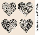 hand drawn set of black heart... | Shutterstock .eps vector #464998814