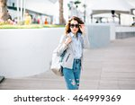 pretty brunette girl with short ... | Shutterstock . vector #464999369