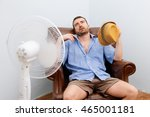 flushed man feeling hot in... | Shutterstock . vector #465001181