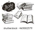 set of  books. vector sketch.... | Shutterstock .eps vector #465002579