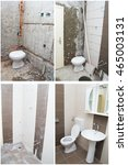 Small photo of House Renovation - Before and After the Renovation of a Bathroom.