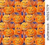 seamless pattern with pumpkin...   Shutterstock . vector #465017579