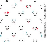 seamless pattern with emoticons ...   Shutterstock .eps vector #465018347