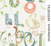seamless grunge doodle... | Shutterstock . vector #465018761