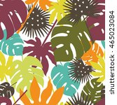autumn palm leaves vector... | Shutterstock .eps vector #465023084