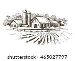 countryside sketch. vector... | Shutterstock .eps vector #465027797