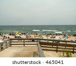 This is a shot of the walkway and beach at Island Beach State Park in NJ. - stock photo