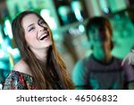 long haired girl in bar | Shutterstock . vector #46506832