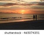 ocean sunset silhouette | Shutterstock . vector #465074351