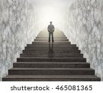 businessman climbed on top of... | Shutterstock . vector #465081365