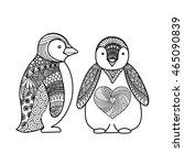 Two Penguins Line Art Design...