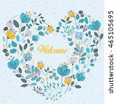 Floral Blue And Yellow Heart...