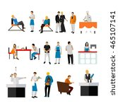 set of restaurant employees and ... | Shutterstock . vector #465107141