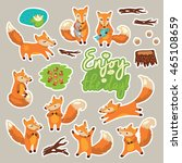 set of stickers with cute... | Shutterstock .eps vector #465108659