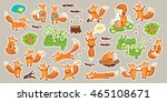 set of stickers with cute...   Shutterstock .eps vector #465108671