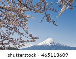 fuji kawaguchiko at cherry... | Shutterstock . vector #465113609