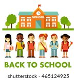different school children stand ... | Shutterstock .eps vector #465124925