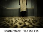 scary person in white dress... | Shutterstock . vector #465151145