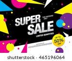 super sale banner. sale poster | Shutterstock .eps vector #465196064