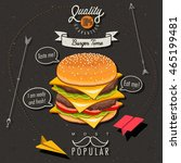 retro vintage style fast food...   Shutterstock .eps vector #465199481