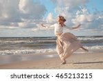 young happy beautiful  woman... | Shutterstock . vector #465213215