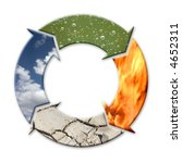 Four-arrow symbol representing four natural elements - air, water, fire and earth as cycle - stock photo