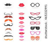 watercolor mustache  lips and... | Shutterstock .eps vector #465232991