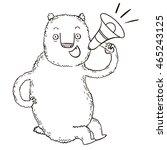 bear with megaphone   Shutterstock . vector #465243125