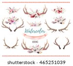 set of watercolor floral boho... | Shutterstock . vector #465251039