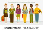 school kids group. boys and... | Shutterstock .eps vector #465268049