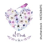 watercolor vintage rose floral... | Shutterstock . vector #465268691