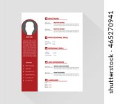 red and white editable cv format | Shutterstock .eps vector #465270941