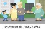 cartoon family on the walk met... | Shutterstock .eps vector #465271961