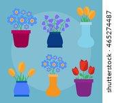 cute spring flowers in pots...   Shutterstock . vector #465274487