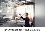 businessman draw progress... | Shutterstock . vector #465282791
