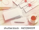 letters with seal on table | Shutterstock . vector #465284039