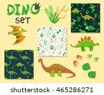 cute cartoon dinosaurs set.... | Shutterstock .eps vector #465286271
