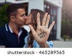 proposal in the street. woman...   Shutterstock . vector #465289565