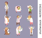 set of funny mad scientists in... | Shutterstock .eps vector #465302261