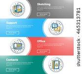 set of flat line business... | Shutterstock .eps vector #465313781