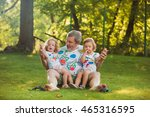 portrait of grandfather with... | Shutterstock . vector #465316595