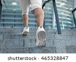 young man running on stairs   Shutterstock . vector #465328847