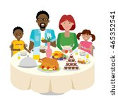 happy multicultural family... | Shutterstock . vector #465352541