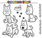 cartoon coloring book   dog   Shutterstock .eps vector #465354509