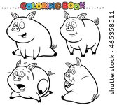 cartoon coloring book   pig | Shutterstock .eps vector #465358511