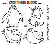 cartoon coloring book   penguin | Shutterstock .eps vector #465358595