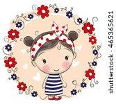 cute cartoon girl and flowers... | Shutterstock .eps vector #465365621
